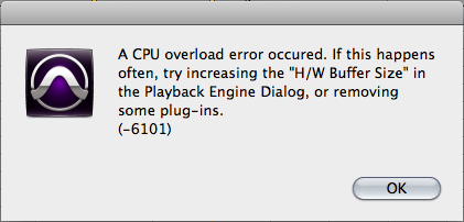 Screen captured image of Pro Tools error