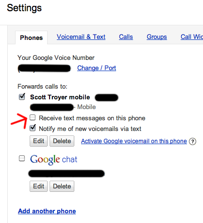screen grab of Google Voice phone settings