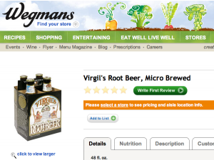 screen grab of Virgils Root Beer on Wegmans.com