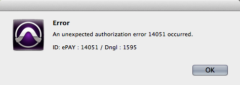 Screen shot of Pro Tools error dialog